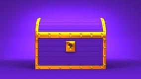 Purple Treasure Chest. On Purple Background stock footage