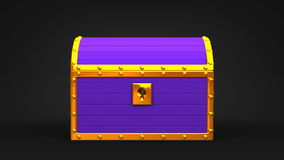 Purple Treasure Chest. On Black Background stock video footage