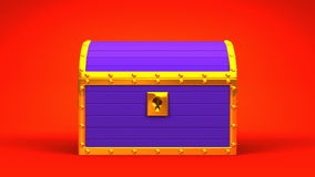 Purple Treasure Chest. On Red Background stock video footage