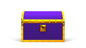 Purple Treasure Chest. On White Background stock video footage