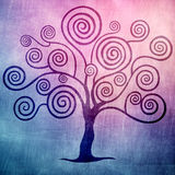 Purple tree with curls. Garden in the evening Royalty Free Illustration