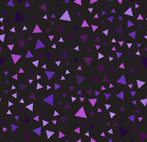 Purple triangle chaotic pattern. Seamless vector background. Amethyst, lavender, plum, purple, violet triangles on black backdrop Royalty Free Stock Photos