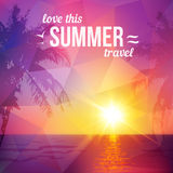 Purple triangles tropical sunset with palms Stock Images