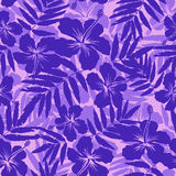 Purple tropical flowers silhouettes seamless Royalty Free Stock Images