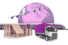 Purple truck with earth on white Royalty Free Stock Photos