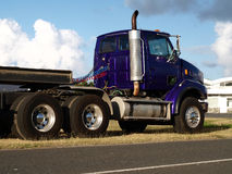 Purple Truck by Road Side Stock Photo