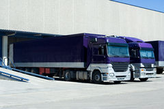 Purple Trucks. Loading Goods at the Dock Royalty Free Stock Photos