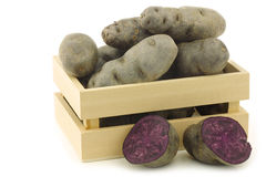 Purple truffle potatoes and a cut one Royalty Free Stock Image
