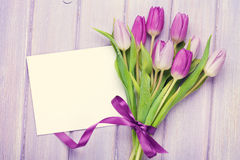 Purple tulip bouquet and greeting card Stock Images