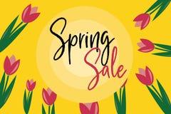 Purple Tulip Spring Sale stock illustration