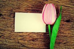 Purple tulips and blank card Royalty Free Stock Photography