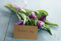 Purple tulips in craft paper on blue wood background with mothers day card Stock Images
