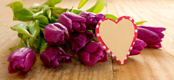 Purple tulips with heart card on wood background. Royalty Free Stock Photos