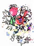 Tulips watercolor wet drops color splash. Purple tulips made with watercolor, paper with ink, paints and brushes. Wet tulips multicolor flowers created a good stock illustration