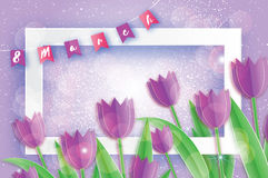 Purple Tulips. Paper cut flower. Flags. 8 March. Women`s Day. Rectangle frame Stock Images