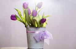 Purple tulips in retro bucket Royalty Free Stock Photography