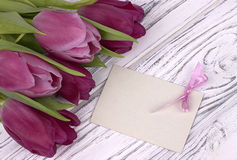 Purple tulips with white paper on a white wooden background with card for text. Womans Day. 8 March. Mother`s Day. Royalty Free Stock Photos