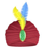 Purple turban with feathers Stock Image