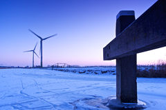 Purple turbine. Green energy in Winter time Stock Photography