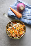 Purple turnip and carrot noodles salad Stock Photos