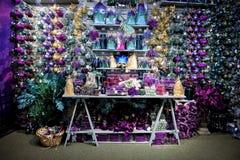 Purple and turquoise Christmas decor display Stock Photos