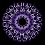 Purple ultraviolet mandala with metallic effect and 3d optical illusion, circle symmetric patterns on black background Royalty Free Stock Image
