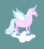 Purple Unicorn with blue mane on cloud. Mythical beast with wing Stock Photos