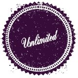 Purple UNLIMITED distressed stamp. Illustration image concept Stock Images