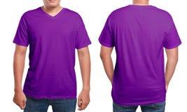 Purple V-Neck shirt design template Stock Image