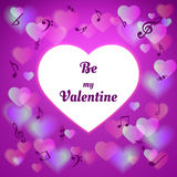 Purple valentines day card with hearts Stock Image