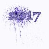 purple van de 2017 vuurwerkillustratie Stock Foto