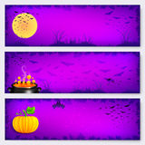 Purple vector Halloween banners backgrounds set Royalty Free Stock Photo
