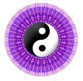 Purple vector mandala with jin jang symbol Royalty Free Stock Images
