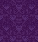 Purple vector pattern with heart in art deco style. Royalty Free Stock Photos