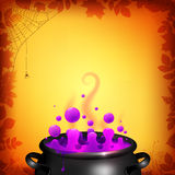 Purple vector potion in black cauldron on orange Stock Images