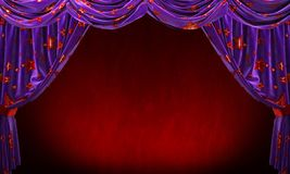 Purple velvet curtain with gold red stars on red background. stock photos