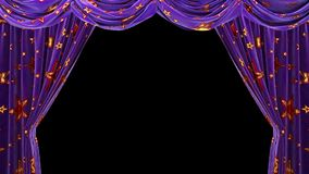 Purple velvet curtains with shiny red stars. ULR stock video