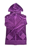 Purple Velvet Hooded Top. Isolated on white Royalty Free Stock Photos