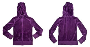 Purple Velvet Hooded Top. Front and back view of a purple hooded velvet top isolated on white Royalty Free Stock Image