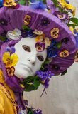 Purple Venice Mask. Purple venice carnival mask flower gem Stock Photos