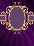 Purple vertical banner with gold filigree Royalty Free Stock Photo