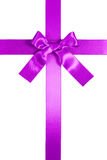 Purple vertical cross ribbon with bow isolated Stock Photo
