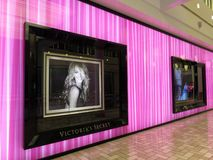 Purple Victorias Secret Store at a Shopping Mall stock images