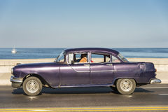 Purple vintage American car Havana Royalty Free Stock Image