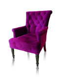 Purple vintage armchair isolated on white clipping path. Royalty Free Stock Images