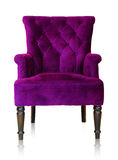 Purple vintage armchair isolated on white clipping path. Royalty Free Stock Photography