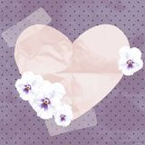 Purple vintage banner with a paper heart Stock Photo