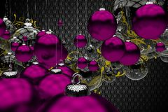 Purple Vintage Christmas. Purple Christmas Ornaments Abstract 3D Generated Illustration. Cool Dark Restro Pattern Background and Purple and Clear Glassy Stock Photos