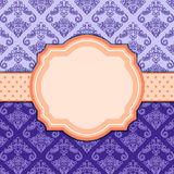 Purple Vintage Damask Card with Label. Royalty Free Stock Photo