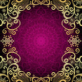 Purple vintage frame with lace mandala in the center Royalty Free Stock Image